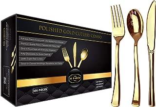 JL Prime 300 Gold Plastic Silverware Set, Gold Plastic Cutlery Set, Heavy Duty Utensils for Party & Wedding, Disposable Gold Flatware, 100 Plastic Forks, 100 Plastic Spoons, 100 Plastic Knives