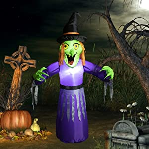 4.2 FT Crashing Witch Halloween Decorations Built-in White LED Light Blow Up Halloween Decorations for Yard, Garden, and Lawn