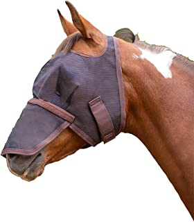 Kensington Signature Fly Mask with Removable Nose — Protects Horses Face and Nose from Biting Insects and UV Rays While Allowing Full Visibility — Ears and Forelock Able to Come Through The Mask