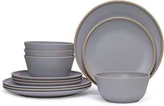 Gufaith Melamine Dinnerware Sets for 4,12 Piece Plates and Bowls Sets, Unbreakable BPA Free, Suitable Indoors And Outdoors...