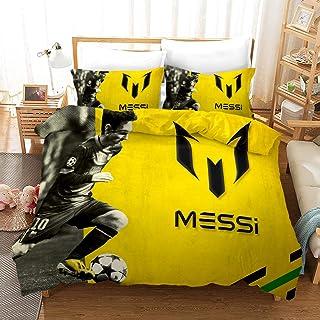 XCMDSM Leo Messi Barça Football Superstar Jeune Idole Parure de Couette Microfibre Housse de Couette avec Taie d'oreiller(...