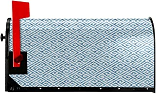 """FUWANK Magnetic Mailbox Cover - 21""""W x 25.5""""H, Tile Mosaic Pattern in Blue and White with Antique Meander and Camo Effect,Mailbox Wraps Post Letter Box Cover"""