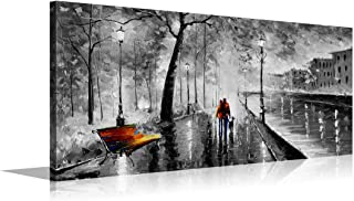 YPY 3 Panel Palette Knife Oil Paintings Abstract Modern City Street View Cityscape Building Artwork Walking Wall Art for Living Room (Black, 24X48in)
