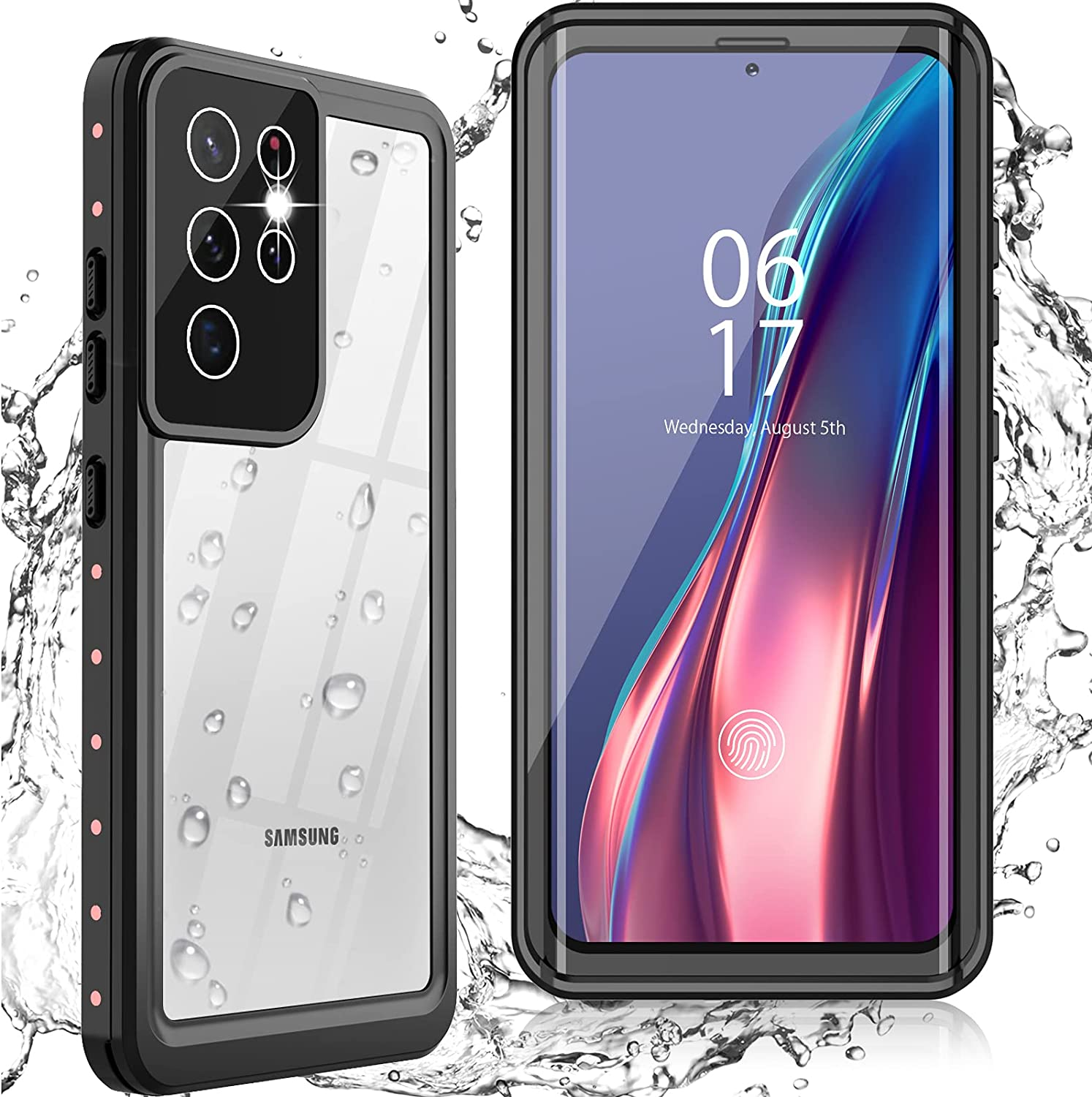 Oterkinfor Samsung Galaxy S21 Ultra Case,S21 Ultra Waterproof Casewith Built-in Screen Protector Dustproof Shockproof 360 Full Body Underwater Case for Samsung S21 Ultra 5G 6.8inch (Pink)