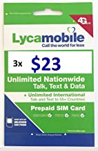 Lycamobile USA $23 Plan Sim Cards Include 3 Month Plan Plus 3GB Data Each Month