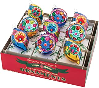 Christopher Radko Shiny Brite Christmas Confetti Decorated Reflector Rounds and Tulips