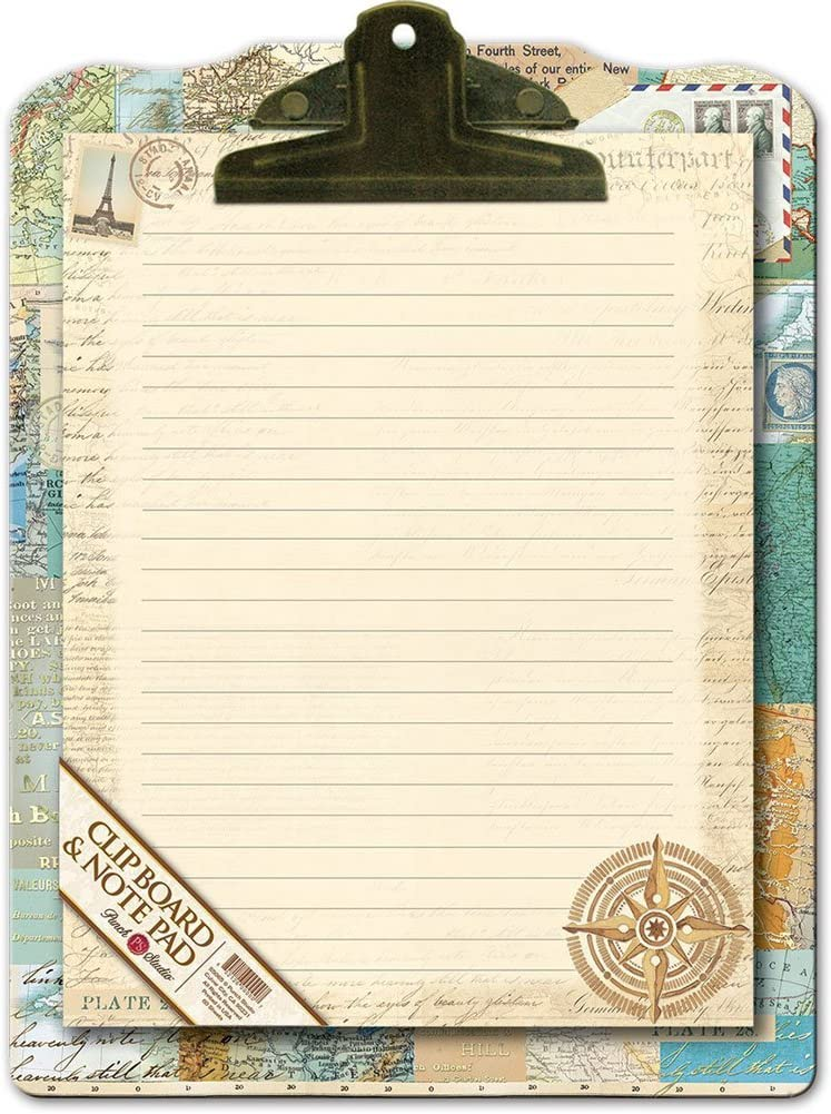 Punch Studio Home Office Clipboard & Notepad Gift Set Atlas
