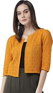 STYLE QUOTIENT Women Lace Open Front Crop Shrug with Three Fourth Sleeves for Office Wear, Casual Shrug