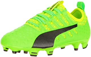 PUMA Evopower Vigor 1 FG Jr Skate Shoe Green Gecko Black-Safety Yellow, 6 M US Big Kid