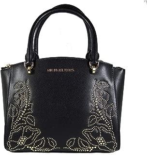 Women's Ellis Small Convertible Leather Gold Toned Studs Satchel Crossbody Bag Purse Handbag