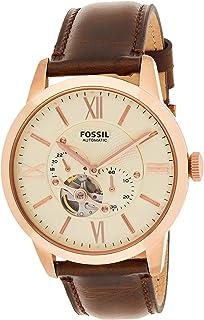 ساعة اتوماتيكية يعرض انالوج وسوار من الجلد للرجال من فوسيل