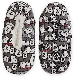 Snoopy Charlie Brown Peanuts Printed Fuzzy Babba Bootie Slipper Socks