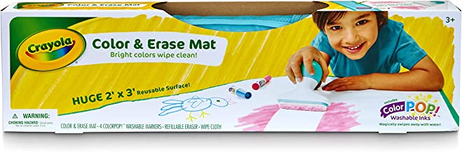 Crayola Color & Erase Mat, Bright Colours wipe clean, Features Color Pop Washable Inks, Perfect for Travel, Drawings magically wash away with eraser tool, just roll up when finished and store away! 3+