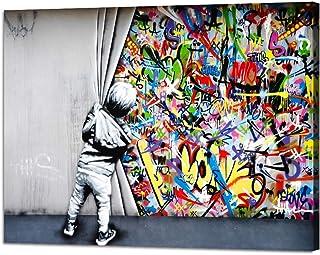 Yatsen Bridge Impression sur toile « Behind The Curtain » de Banksy - Art mural - Posters colorés tendus pour le salon - D...
