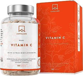 Vitamina C Pura Altamente Concentrada - Más de 1000 mg por Dosis Diaria [1027 mg] - 180 Cápsulas - Con Flavonoides de Fruta Cítrica, Camu Camu y Acerola - Complemento Alimenticio 100% Vegano