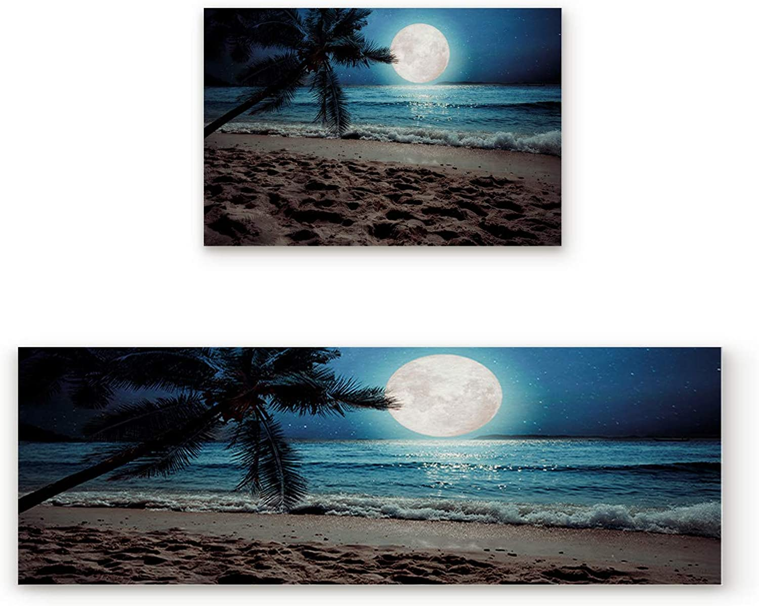 SODIKA Non Slip Kitchen Rug Set 2 Piece, Floor Mat Carpet Runner,Coconut Tree Moon Ocean Wave Night Beach Scenery (19.7x31.5in+19.7x63 inches)