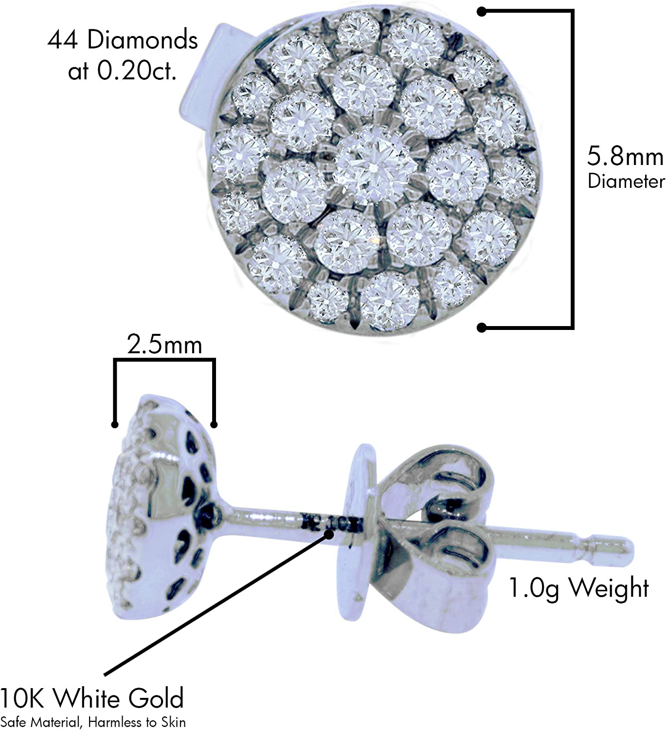 10K White Gold Natural Diamond Cluster Stud Earrings with 0.20cttw Round Cut DIamonds (J Color, SI Clarity)