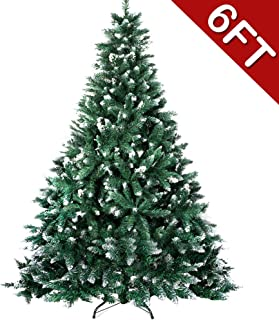 Aytai 6ft Artificial Christmas Tree, Flocked Snow Christmas Trees with Metal Stand for Holiday Decoration, 1000 Tips