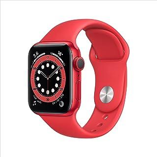 ساعة ابل من السلسلة 6 (نظام تحديد المواقع، 40 ملم) بهيكل احمر من الالمنيوم وسوار رياضي - احمر
