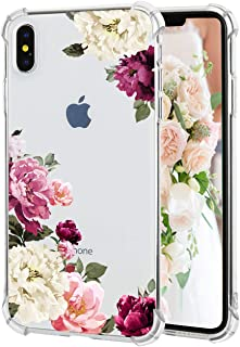iPhone Xs iPhone X Case Floral Pattern Clear Thin Soft TPU Slim Flexible Shockproof Bumper Phone Cases for Women Girls-Cool Pink Rose[5.8