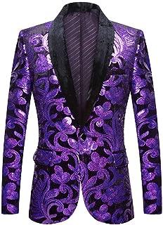 PYJTRL Men Fashion Velvet Sequins Floral Pattern Suit Jacket Blazer