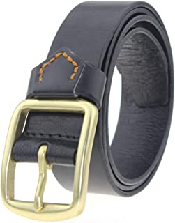 Men Belt Solid Brass Buckle All-Match Leather Belt Casual Business (Size : S)