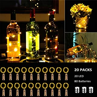 BACKTURE Luz de Botella [20 Pack], Guirnaldas Luminosas Botellas de Vino Luces, 2M 20 LED Bombillas Decoración de Luces para Boda, DIY Fiesta, Adornos de Navidad - Blanco Cálido (20 pack)