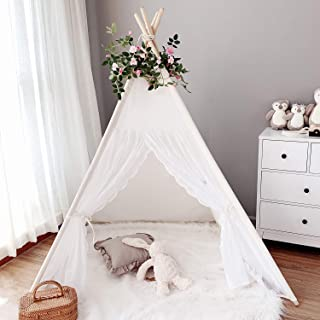Avrsol Kids Teepee Tent for Girls with 5.9Ft Rose Vine Flowers, Lace Teepee Play Tent -Tipi Childrens White Room Decor