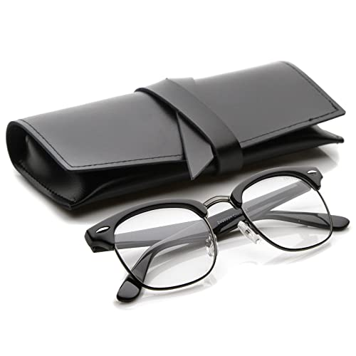 7599a5510d Retro Square Clear Lens Horn Rimmed Half-Frame Eyeglasses 50mm