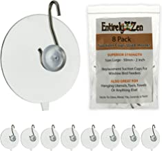 Entirely Zen Superior 8pc Suction Cup Hooks - 50mm - 2 inch Heavy Duty Suction Cups Hold up to 4 lbs Each - All Purpose Hooks for Hanging, Window Bird Feeder Replacements, Towel or Shower Caddy Hook