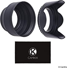55mm Set of 2 Camera Lens Hoods and 1 Lens Cap - Rubber (Collapsible) + Tulip Flower - Sun Shade/Shield - Reduces Lens Flare and Glare - Blocks Excess Sunlight for Enhanced Photography and Video