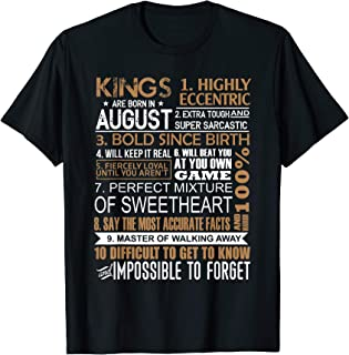 Kings Are Born In August Shirt Leo Virgo Birthday Gifts Men T-Shirt