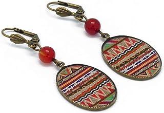 Orecchini retro resina Africa ottone bronzo perla vetro arancione grigio verde 18x25mm regalo personalizzato noel amico ma...