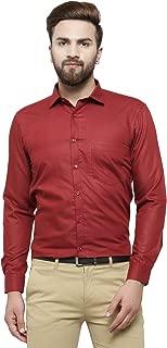 RG Designers Maroon Solid Slim Fit Full Sleeve Cotton Formal Shirt