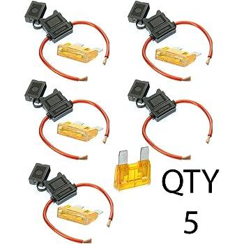 1 10 Amp 2 Fuses 14 Gauge Gauge ATC Inline Fuse Holder Fuseholder with Cover /& VOODOO