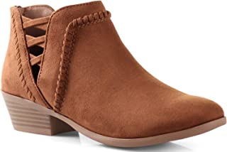 LUSTHAVE Womens SN Western Cut Out Perforated Low Heel Ankle Boots Bootie Cognac 6