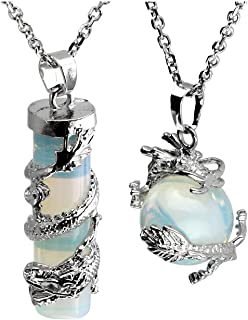 2pc Dragon Wrapped Round Ball Cylinder Gemstone Healing Crystal Pendant Necklaces Set