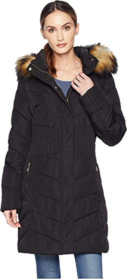 Puffer Jacket with Chevron Quilt and Detachable Fur Hood