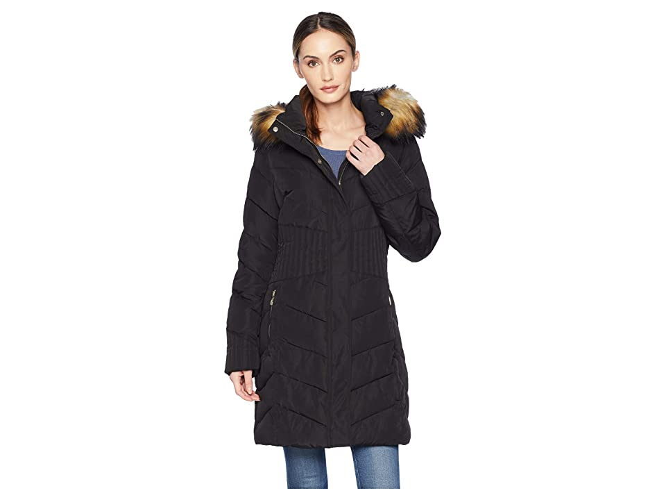 Ivanka Trump Puffer Jacket with Chevron Quilt and Detachable Fur Hood (Black) Women
