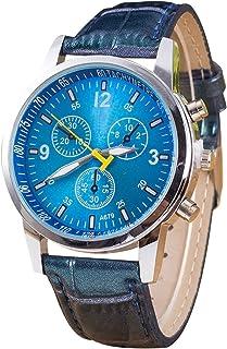 Lanbinxiang@ Luminous Round dial 3 Decorative dial Ladies Quartz Watch with PU Leather Strap Fashion (Color : Blue)