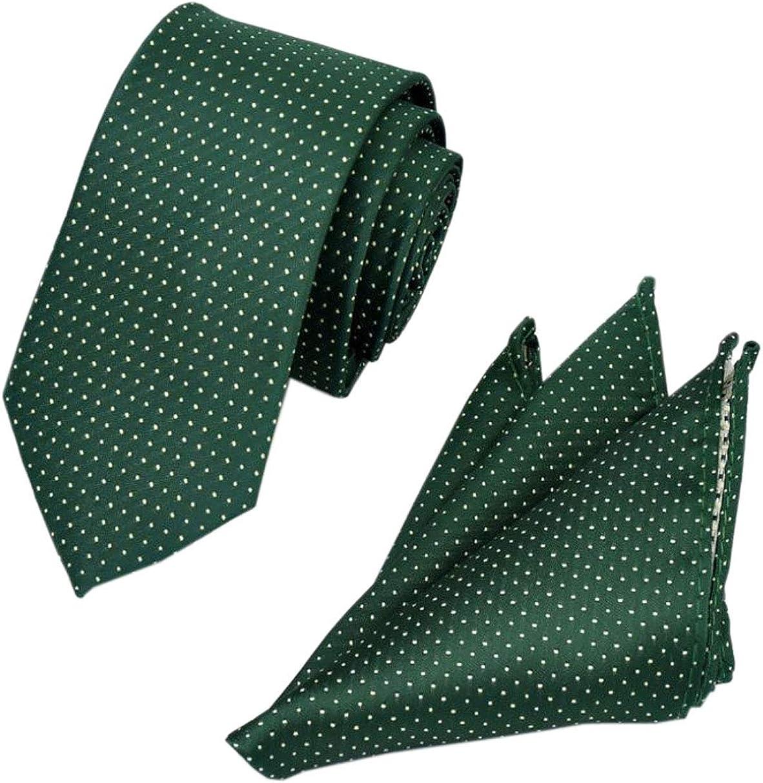YueLian Paisley Polka dot Wedding Party Formal Necktie Handkerchief Pocket Square Set for Men