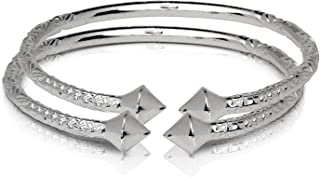 Better Jewelry Thick Pyramid Ends .925 Sterling Silver West Indian Bangles (Pair 83.6 g/Size 9 (MADE IN USA))