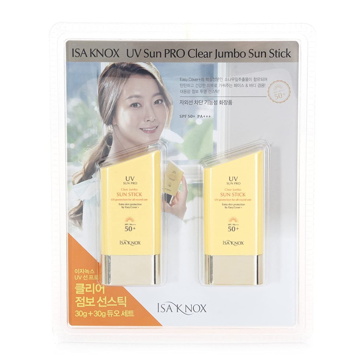 魔女世界的に協定[イザノックス / ISA KNOX] UVサンプロクリアジャンボサンスティック 30g×2個セット / ISA KNOX Sun Pro Clear Jumbo Sun Stick / SPF50+ PA++ / クリアスティック / UVプロテクター / イザノックス正品 (海外直送)