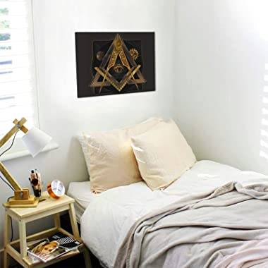 Golden Free-Mason Wall Art Paintings Living Room Decor Canvas Prints Wooden Frame for Bedroom Office Home Decorations