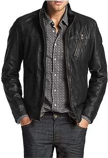 Laverapelle Men's Genuine Lambskin Leather Jacket (Black, Classic Jacket) - 1501210