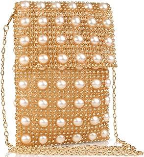 VEYIINA NERO Womens Rhinestone Pearl Handbags Handmade Crystal Tote Bags Transparent Weave Shoulder Bags Phone Key Mini Purse