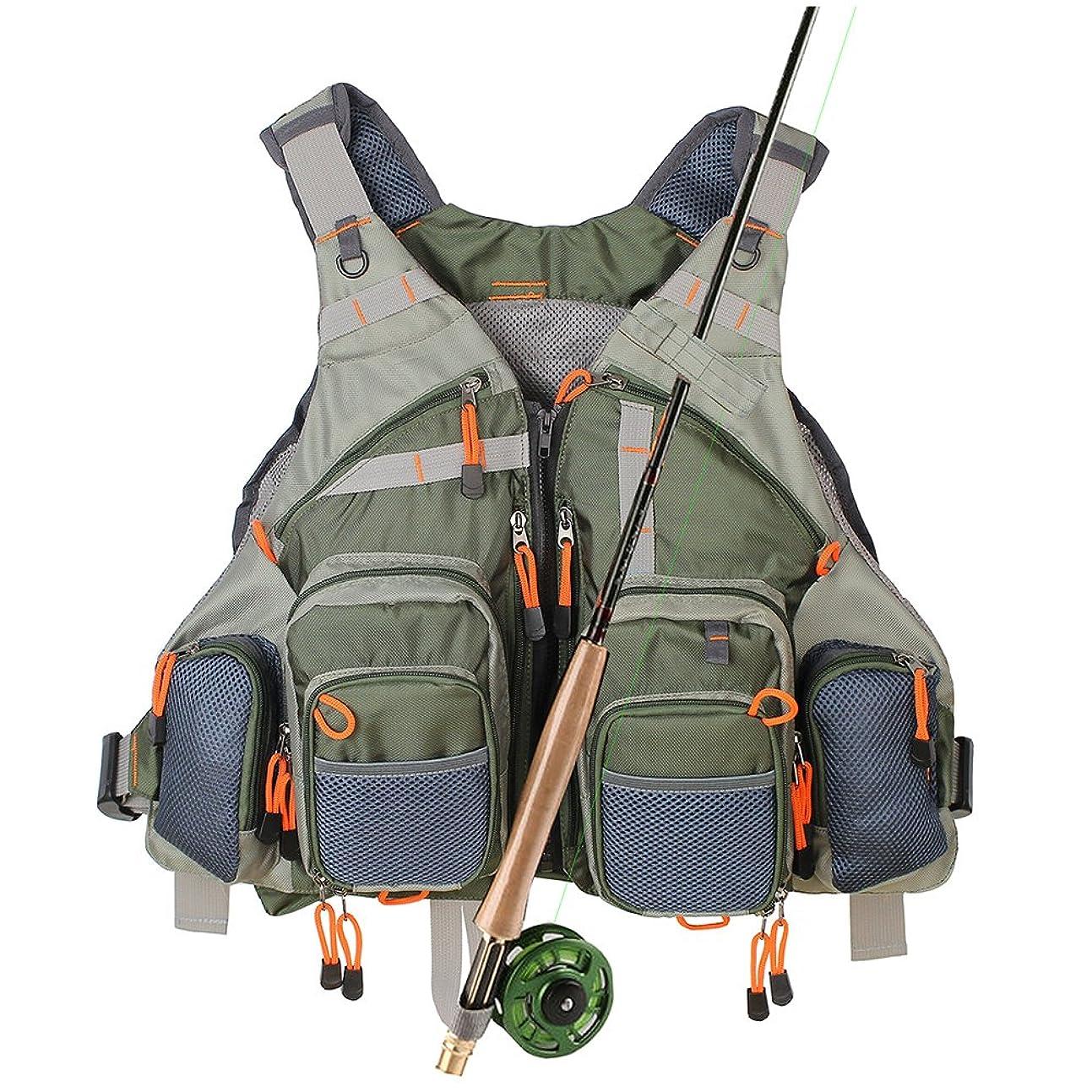一緒苦味わざわざ多機能 調節できる メッシュ磯釣り、ルアーフィッシング、 多ポケットアウトドア魚釣りベスト 魚釣りリュックサック …
