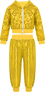 Agoky Kids Boys Girls Shiny Jacket Coat Hooded Tops Pants Street Dance Outfits for Hip-hop Jazz Dance Stage Performance