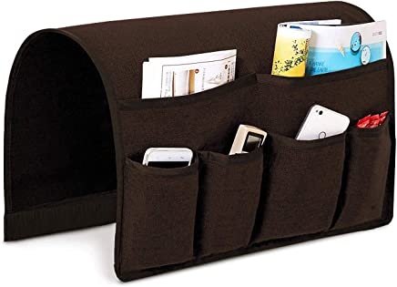 Joywell Sofa Armrest Organizer, Couch Arm Chair Caddy with 6 Pockets for Magazine, Books, TV Remote Control, Cell Phone, iPad (Brown)