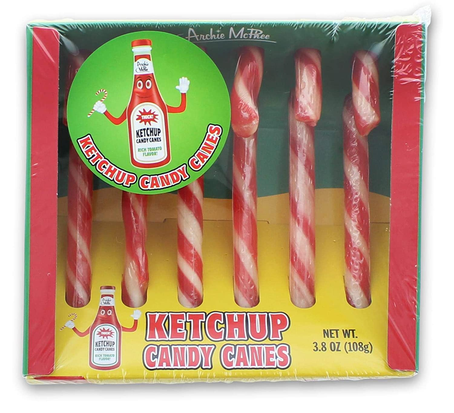 Archie McPhee Gift Box of Funny Ketchup Candy Cane Ranking TOP11 3.8 Ounce Max 85% OFF
